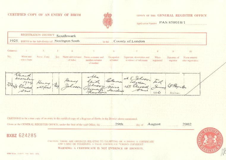 Henry Alfred Johnson's birth certificate