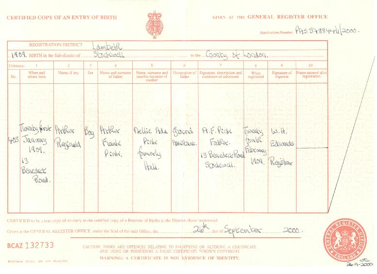 Arthur Reginald Pink's birth certificate